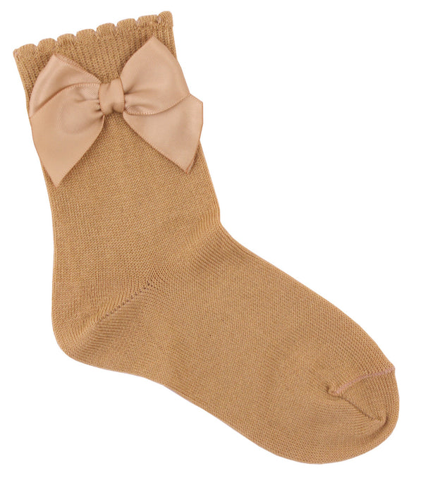 Carlomagno Camel Single Bow Ankle Socks - Liquorice Kids