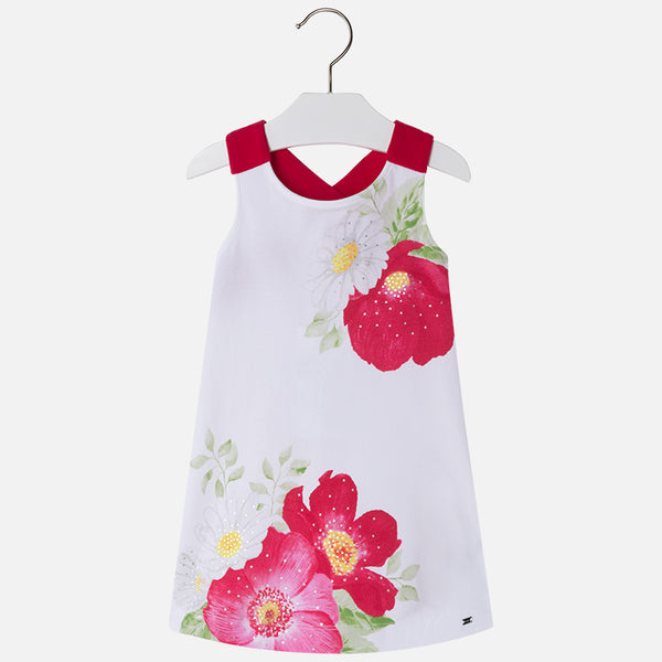 SS18 Mayoral Girls Red & White Flowers Dress 3994