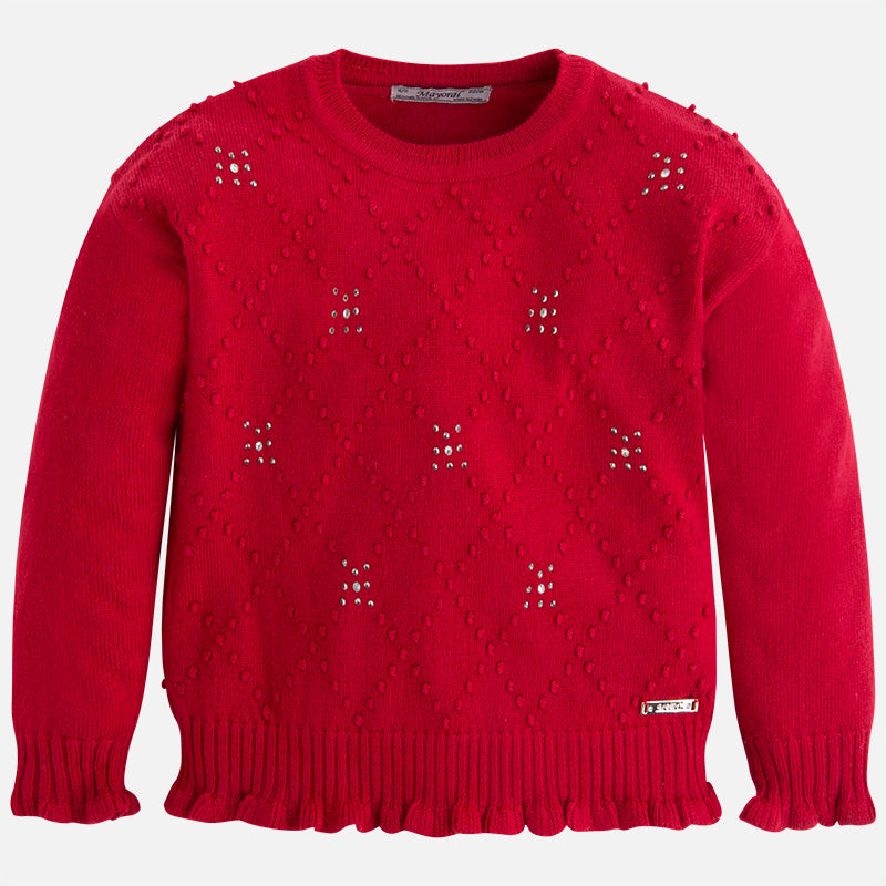 AW17 Mayoral Girls Red Studded Jumper 4313