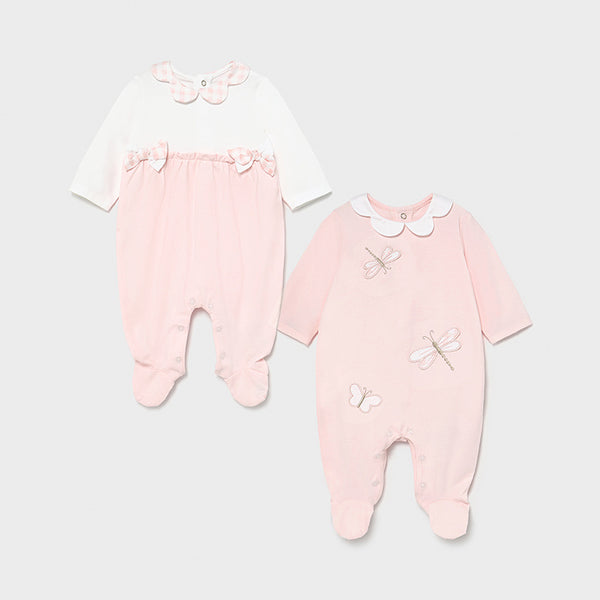 SS21 Mayoral Baby Girls Pink & White Set of Babygrows 1605