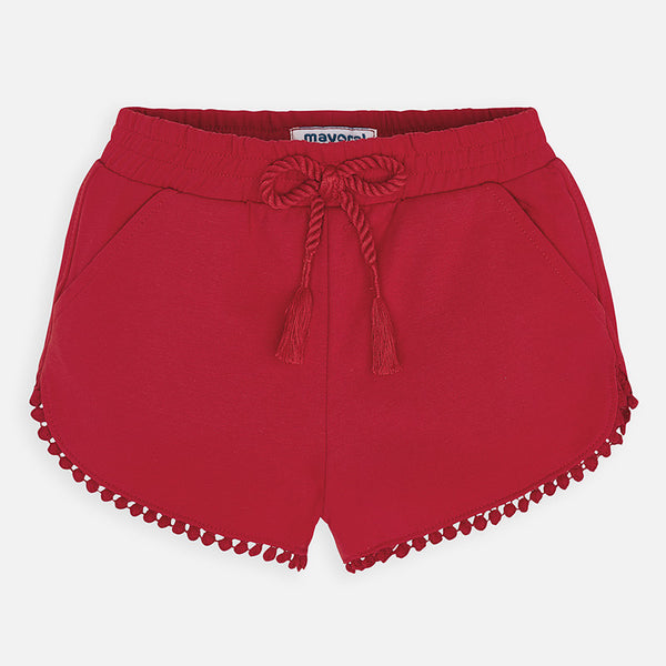 SS20 Mayoral Girls Red Pom Pom Shorts 607
