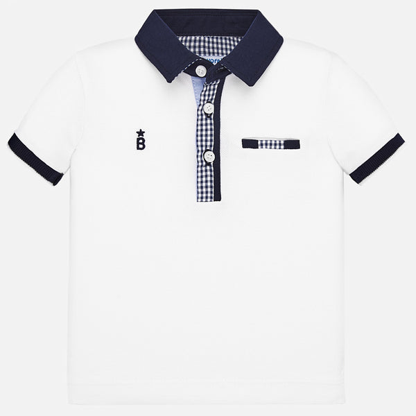 SS20 Mayoral Toddler Boys White & Navy Trim Polo Top 1145