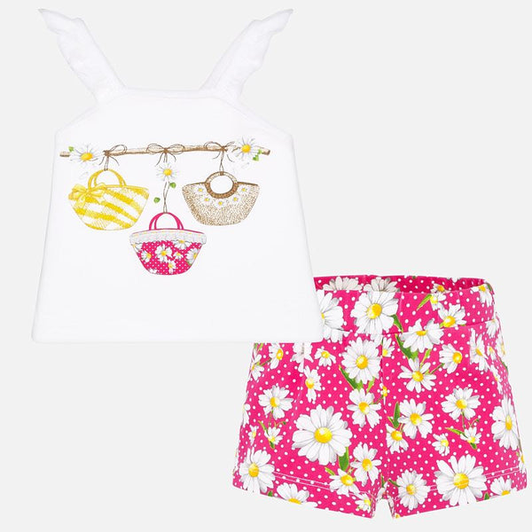 SS20 Mayoral Toddler Girls Pink & White Daisy Shorts 1207