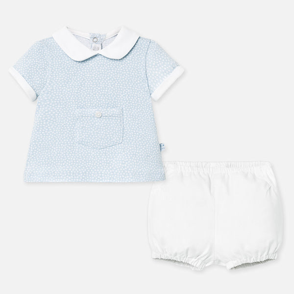SS20 Mayoral Baby Boys Blue & White Two-Piece Set 1257