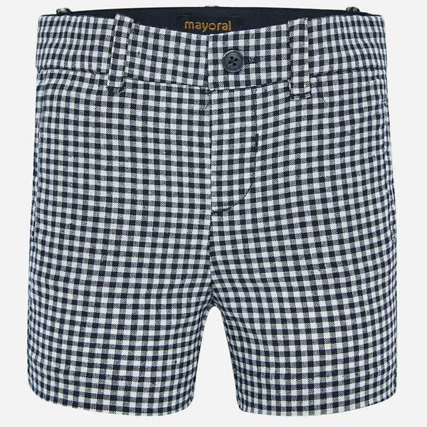 SS20 Mayoral Toddler Boys Navy Blue & White Check Shorts 1282