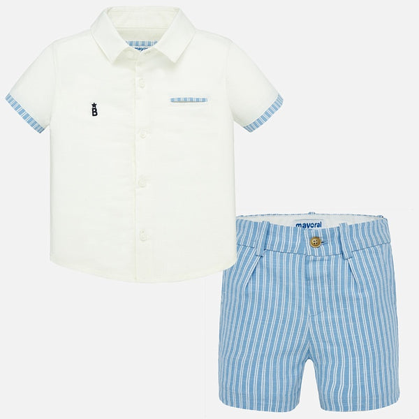 SS20 Mayoral Toddler Boys Blue & White Striped Short Set 1293