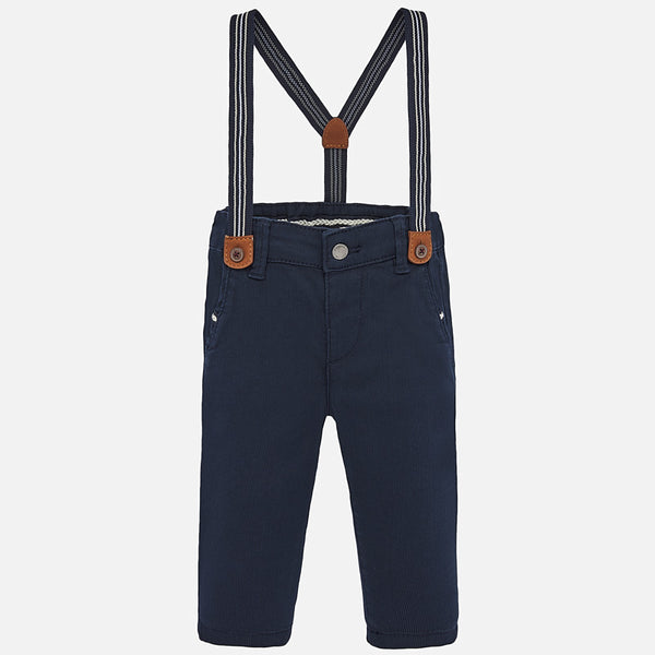 SS20 Mayoral Toddler Boys Navy Blue Chinos With Braces 1545