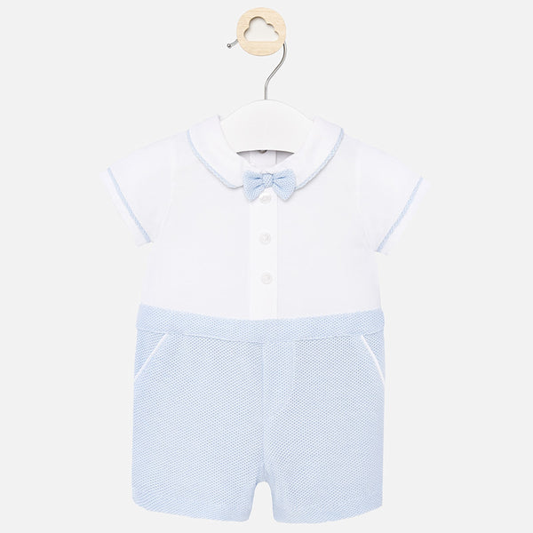 SS20 Mayoral Baby Boys Blue Bow Tie Romper 1655