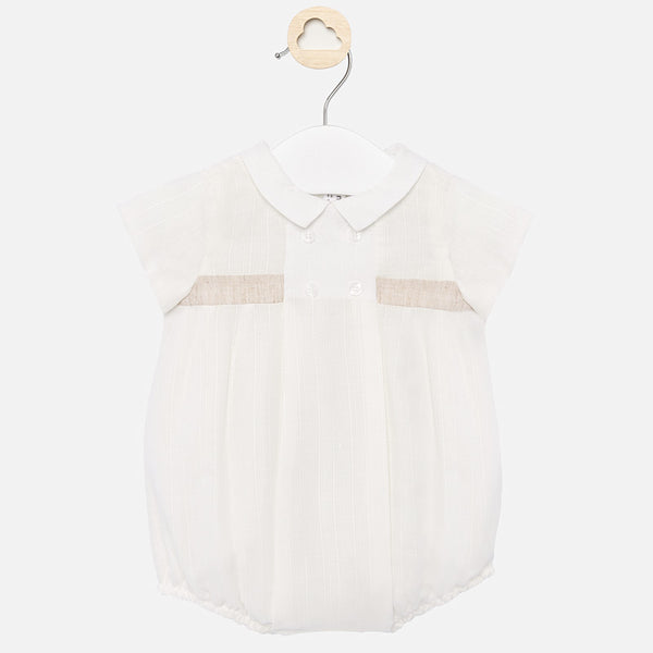 SS20 Mayoral Baby Boys Ivory Linen Romper 1675