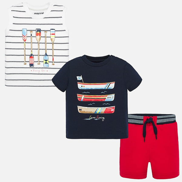 SS20 Mayoral Toddler Boys Red & Navy Blue Short Set 1693