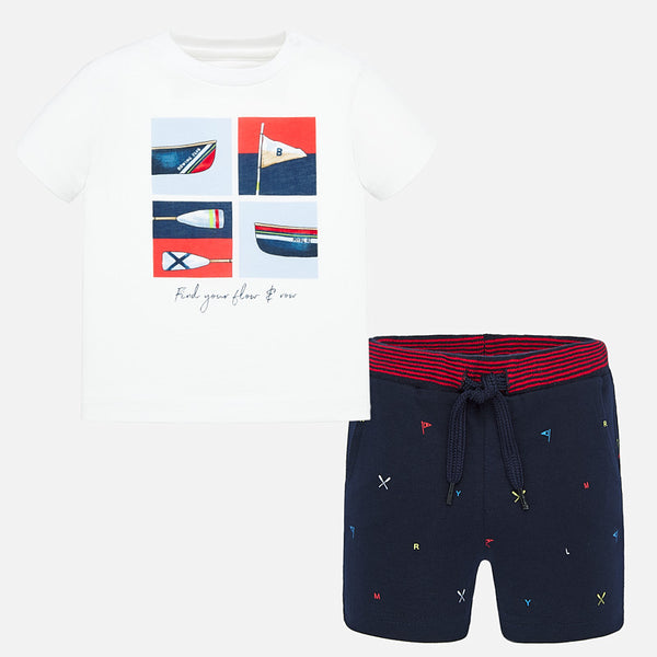 SS20 Mayoral Toddler Boys Rowing Club Short Set 1694