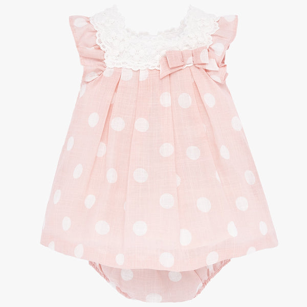 SS20 Mayoral Baby Girls Pink & White Dress & Knickers Set 1871