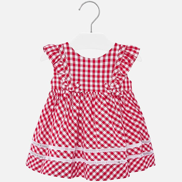 SS20 Mayoral Toddler Girls Red & White Gingham Dress 1938