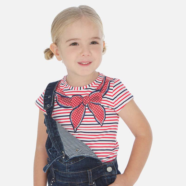 SS20 Mayoral Girls Red Bow Striped Top 3005
