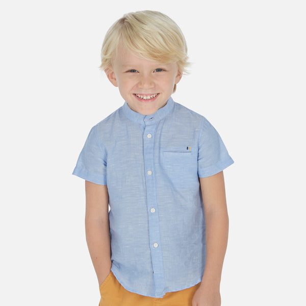 SS20 Mayoral Boys Blue Linen Shirt 3161