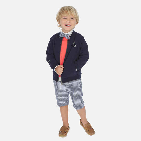 SS20 Mayoral Boys Blue & White Stripe Linen Shorts 3253