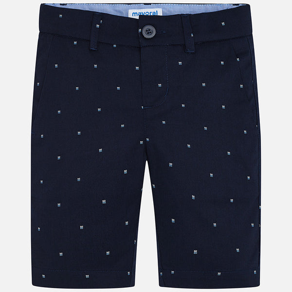 SS20 Mayoral Boys Navy Blue Patterned Chino Shorts 3259