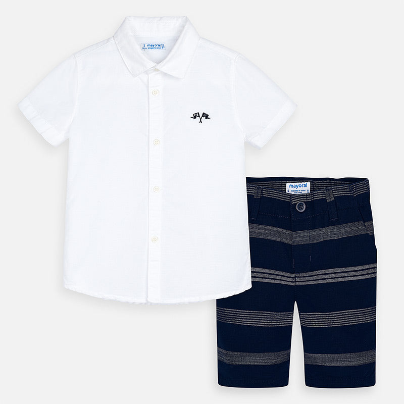 SS20 Mayoral Boys White & Navy Blue Short Set 3269