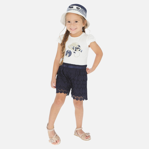 SS20 Mayoral Girls Navy Blue Lace Short Set 3001 & 3274