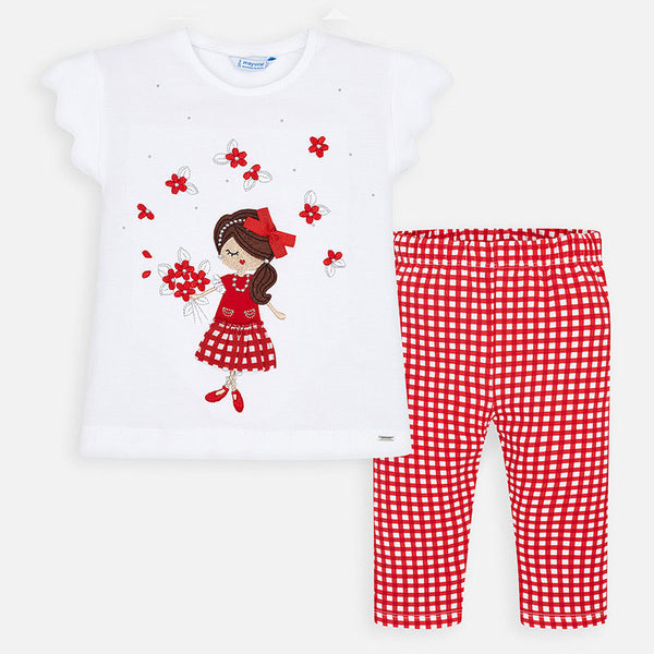 SS20 Mayoral Girls Red & White Gingham Legging Set 3545