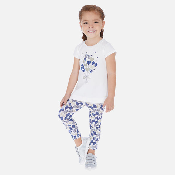 SS20 Mayoral Girls Blue Hearts & Bows Leggings Set 3725