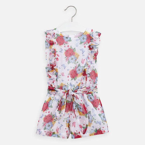 SS20 Mayoral Girls Strawberry Flower Print Playsuit 3814