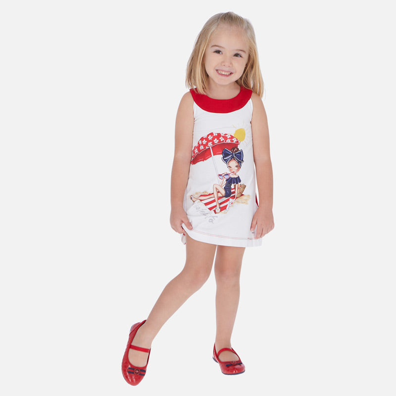 SS20 Mayoral Girls Red Beach Girl Dress 3960
