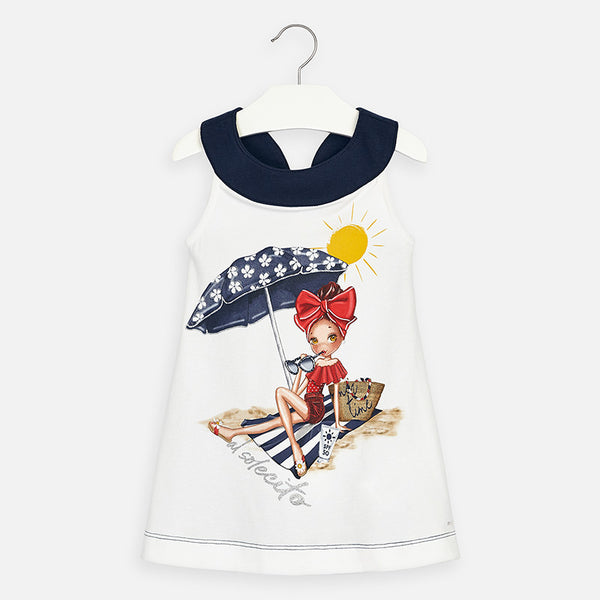 SS20 Mayoral Girls Navy Blue Beach Girl Dress 3960