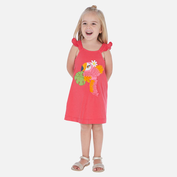SS20 Mayoral Girls Pink Parrot Embroidered Dress 3962