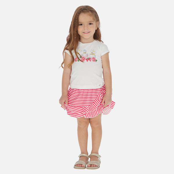 SS20 Mayoral Girls Strawberry Red Perfume Skirt Set 3964