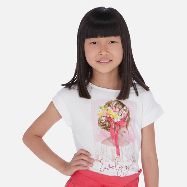 SS20 Mayoral Older Girls White 'Lovely Girl' Top 6002