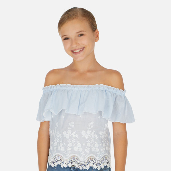 SS20 Mayoral Older Girls Blue & White Striped Bardot Top 6165