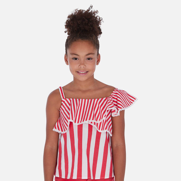 SS20 Mayoral Older Girls Pink & White Stripe Top 6168