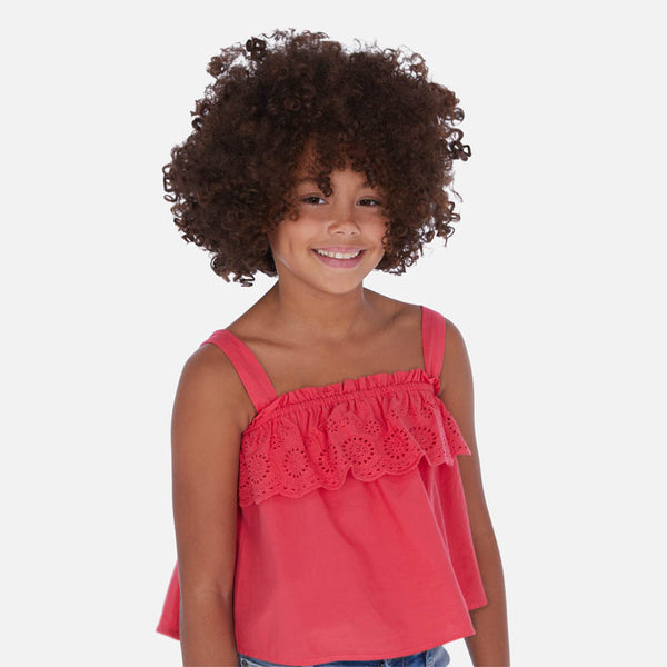 SS20 Mayoral Older Girls Watermelon Pink Top 6171