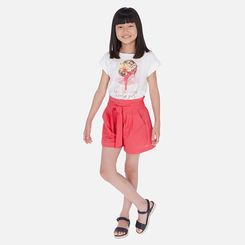 SS20 Mayoral Older Girls Watermelon Pink Linen Shorts 6258