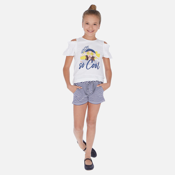SS20 Mayoral Older Girls Navy Blue & White 'You're So Cool' Short Set 6259