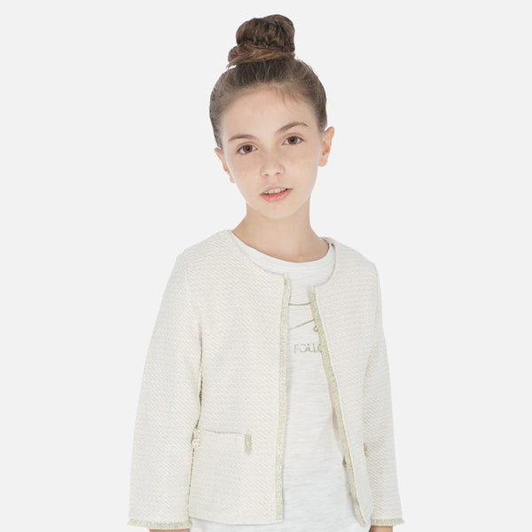 SS20 Mayoral Older Girls Ivory & Gold Jacket 6811