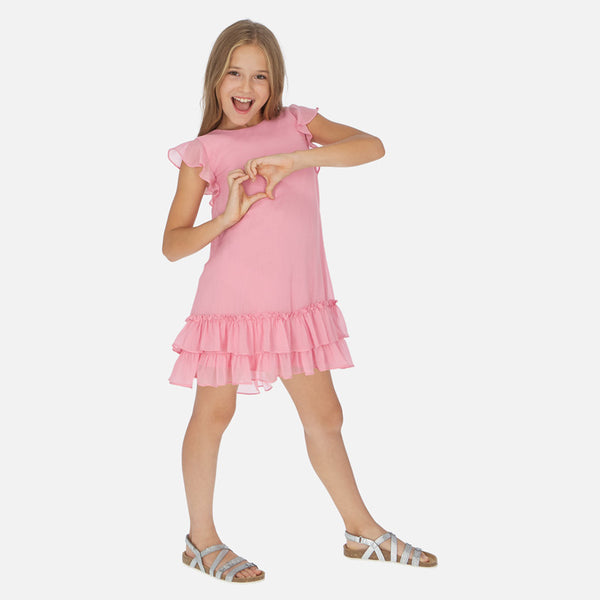 SS20 Mayoral Older Girls Pink Chiffon Dress 6961
