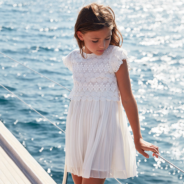 SS20 Mayoral Older Girls Ivory Dress 6966