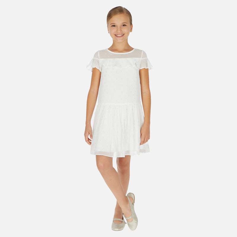 SS20 Mayoral Older Girls White & Silver Dress 6976
