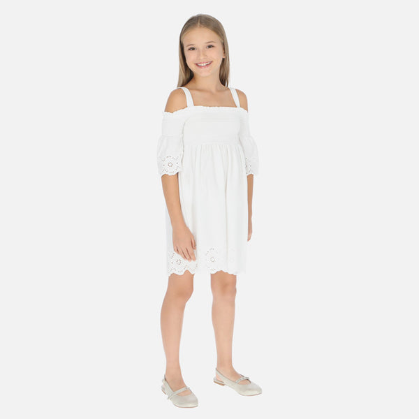 SS20 Mayoral Older Girls Ivory Cold Shoulder Dress 6980