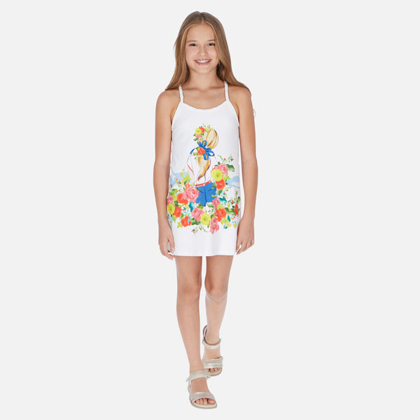 SS20 Mayoral Older Girls White Flower Power Dress