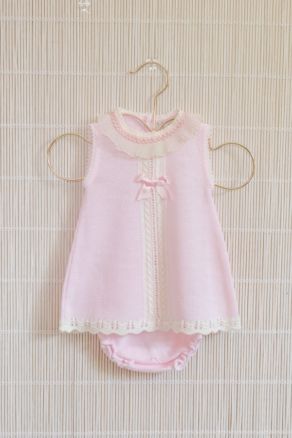 SS20 Dolce Petit Baby Girls Pink Knitted Dress & Knickers Set 2018-VB