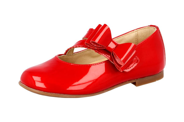 Andanines Red Patent Velcro Strap With Bow Shoes