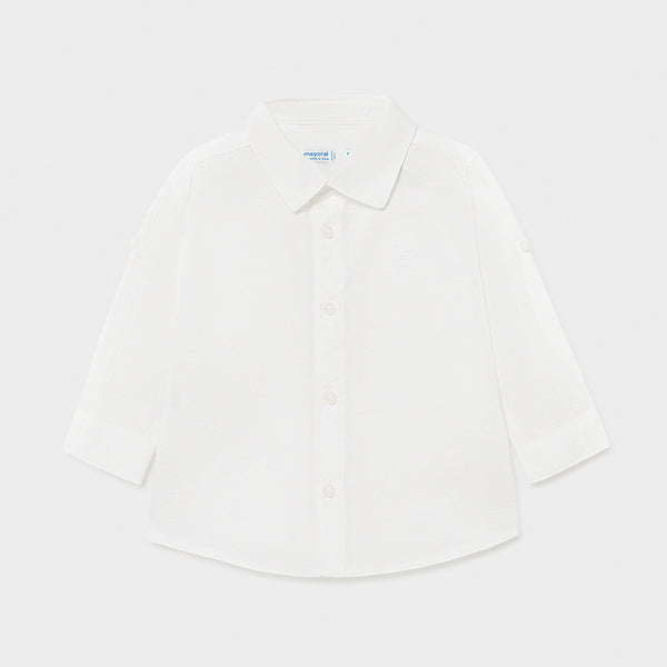 SS21 Mayoral Toddler Boys White Linen Shirt 117