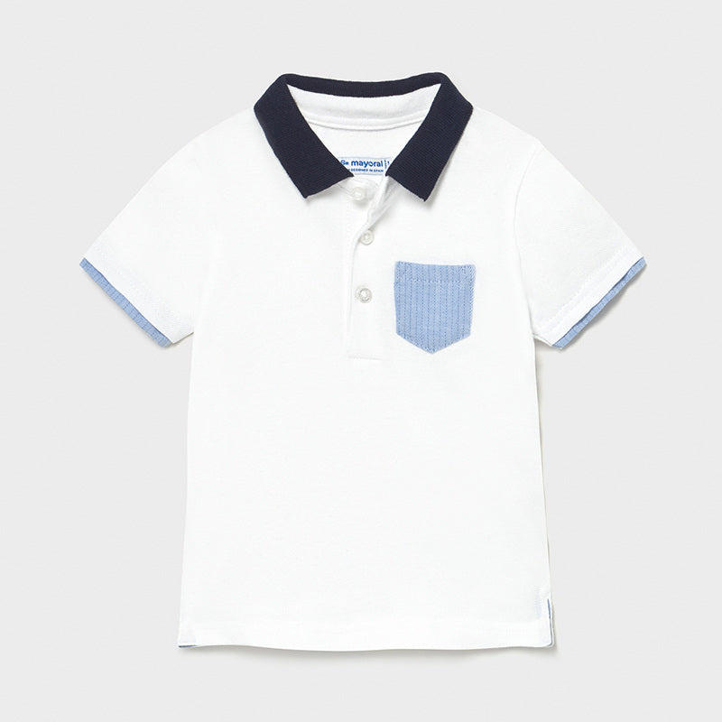 SS21 Mayoral Toddler Boys White & Blue Polo Top 1103