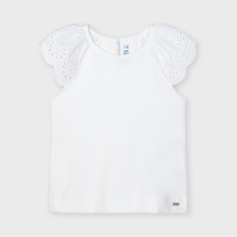 SS21 Mayoral Girls White Broderie-Anglaise Top 3026