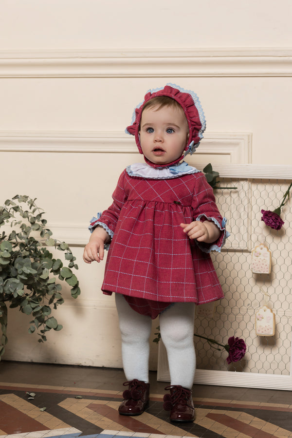 AW18 Dolce Petit Baby Girls Burgundy & Blue Dress, Bonnet & Knickers Set 2109-VBG