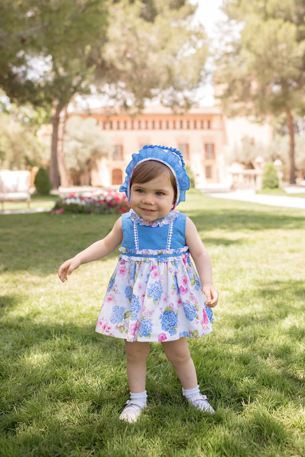 PRE-ORDER SS20 Dolce Petit Baby Girls Blue & White Floral Dress, Knickers & Bonnet 2118-VBG