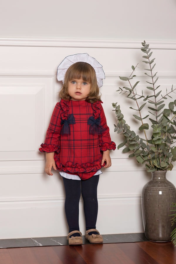 AW19 Dolce Petit Baby Girls Red & Navy Blue Check Bows Dress, Knickers & Bonnet 2120-VBG